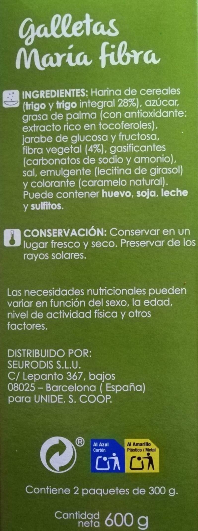 Galletas Maria fibra - Ingredientes