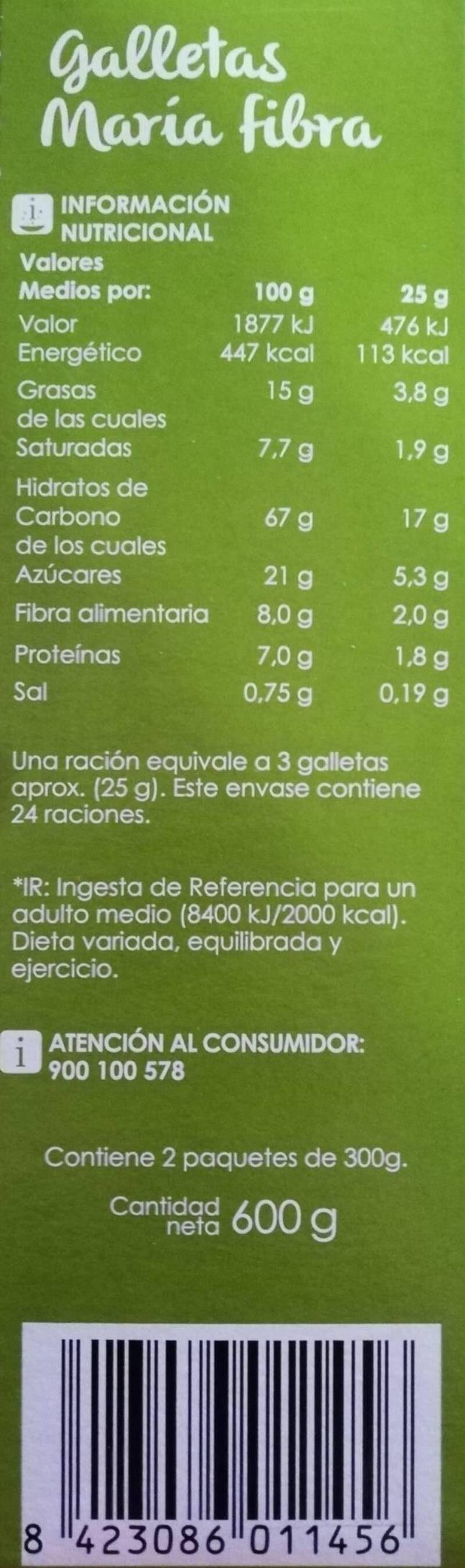 Galletas Maria fibra - Información nutricional
