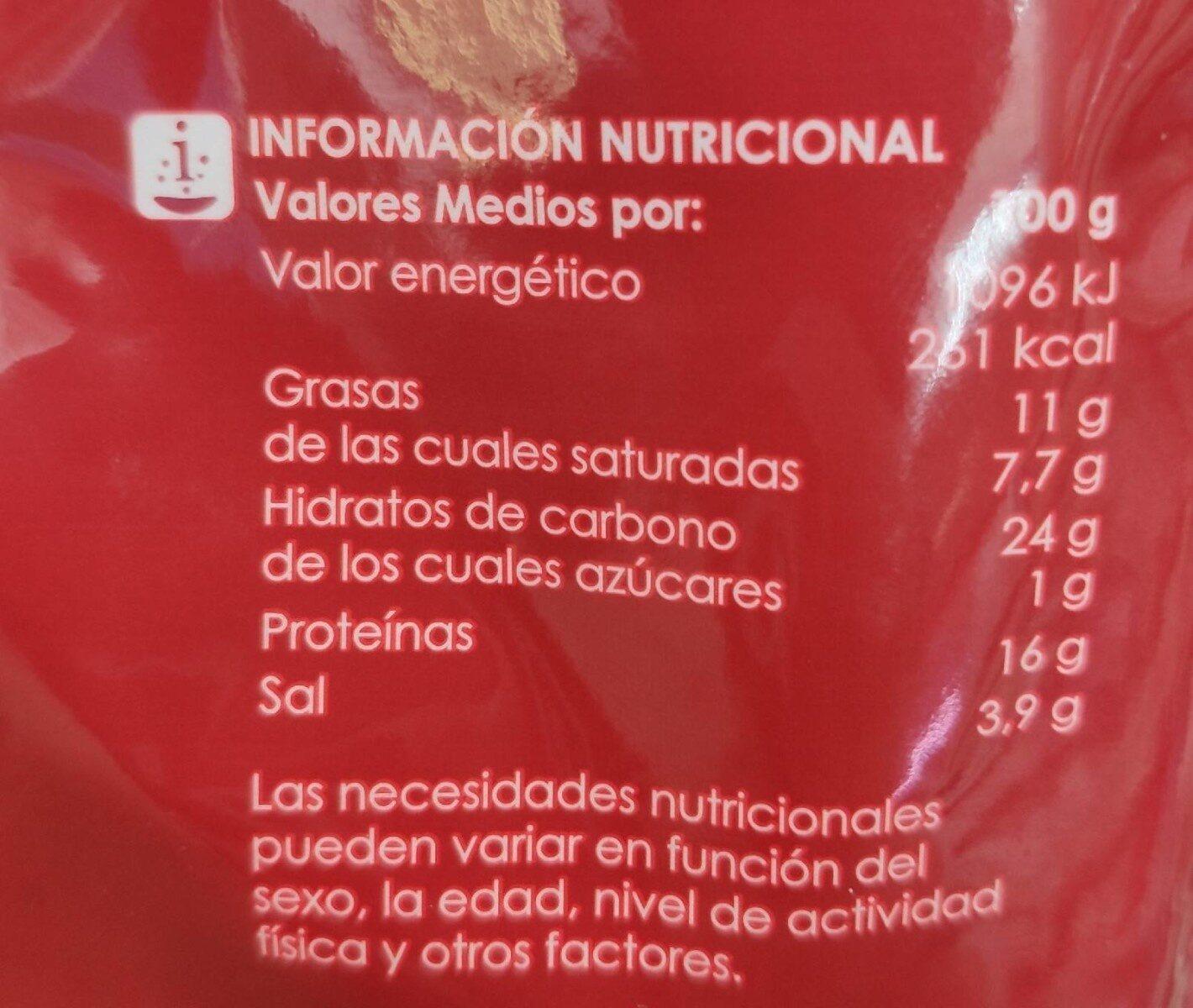 Quedo rallado - Información nutricional