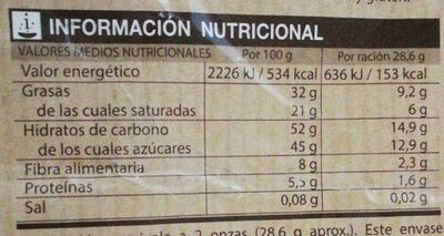 Chocolate postres fundir - Nutrition facts