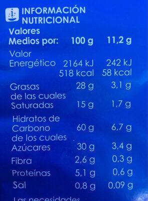 Palmeritas de hojaldre - Nutrition facts - es