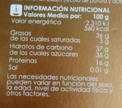 Turrón de Alicante - Información nutricional