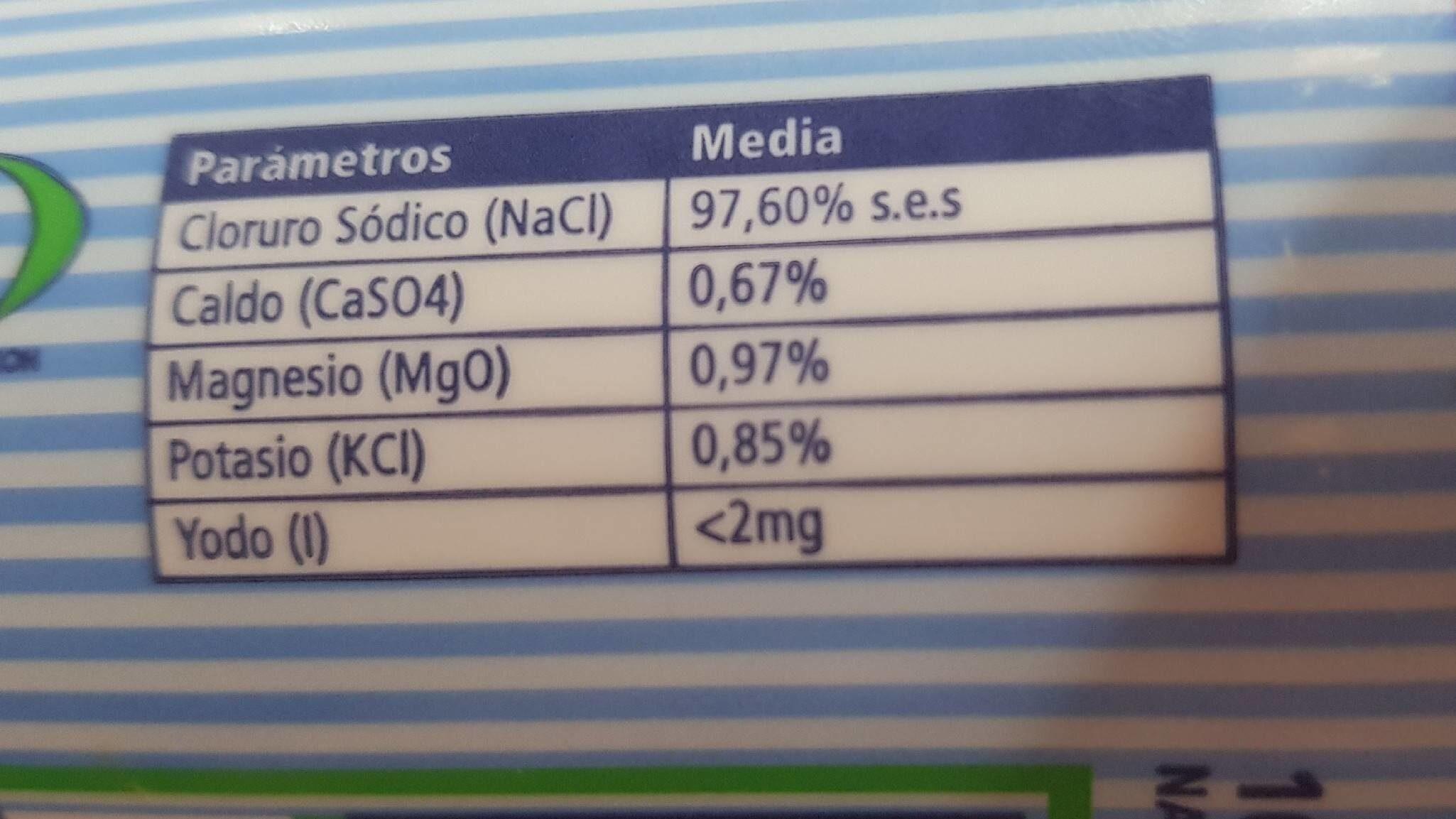 Sal Fina de Teneguía (La Palma, IC, ES) en salero 250G - Informació nutricional - fr