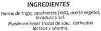 Panes especiales Cacahuete - Ingredientes - es