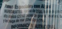 Antin panes especiales - Ingredientes