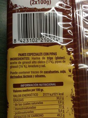 Panes especiales con pipas - Ingredientes - es