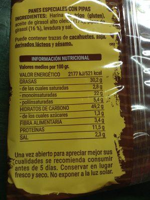 Panes especiales con pipas - Información nutricional - es
