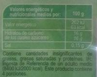 Granizado sabor mojito - Información nutricional - es
