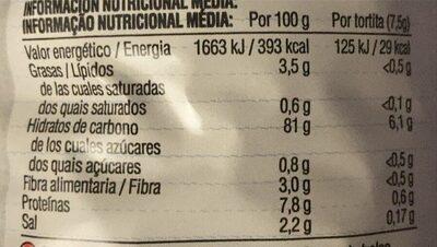 Nackis tortitas de arroz integral - Informação nutricional - fr