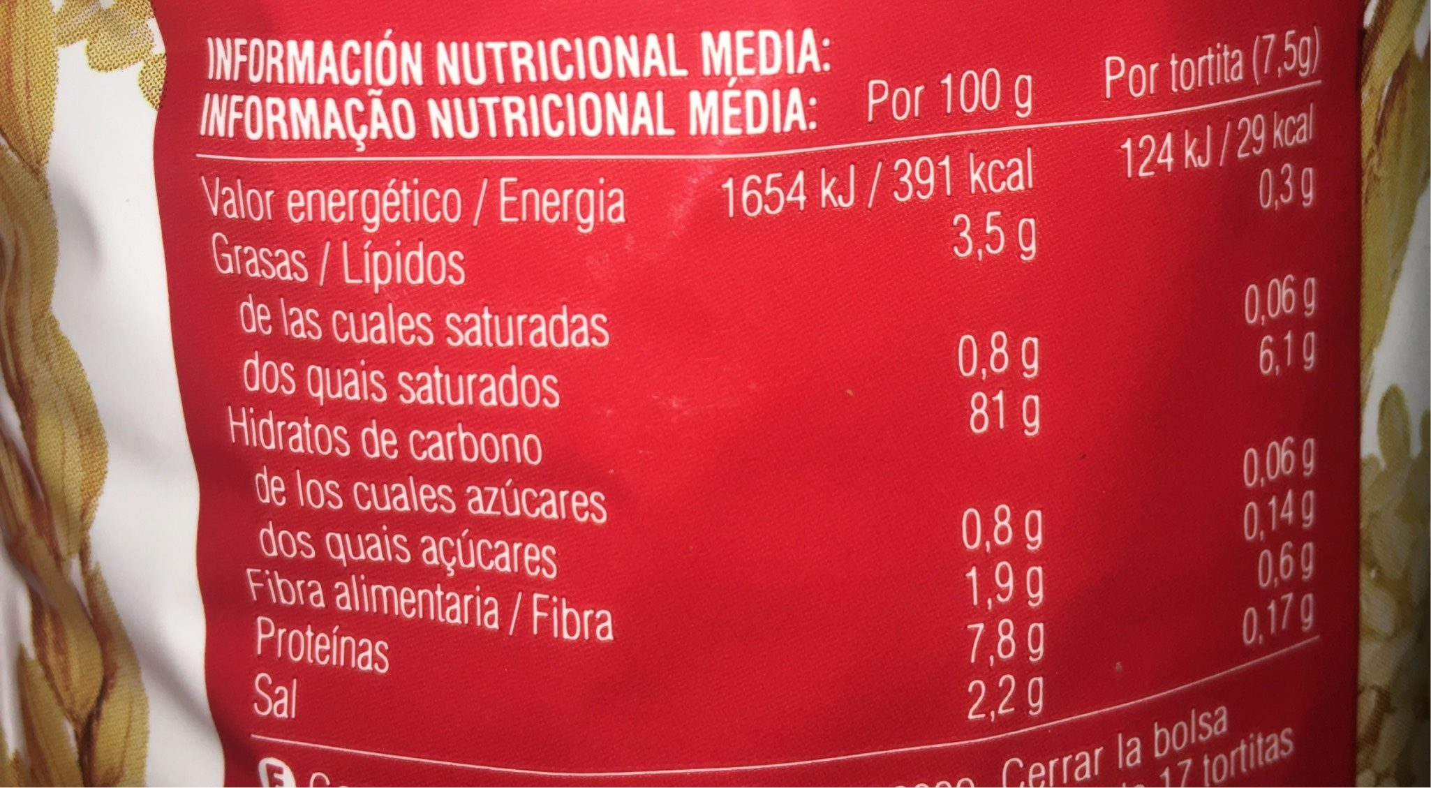 Tortitas de arroz integral - Voedingswaarden - fr