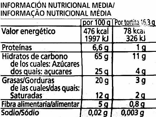 Nackis tortitas de arroz integral con chocolate negro - Nutrition facts
