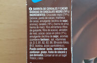 Snack chocolate negro & cereales - Ingredients - es