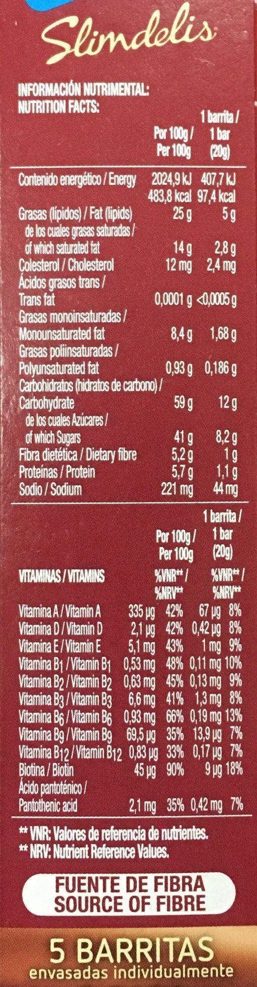 slimdelis - Nutrition facts - es