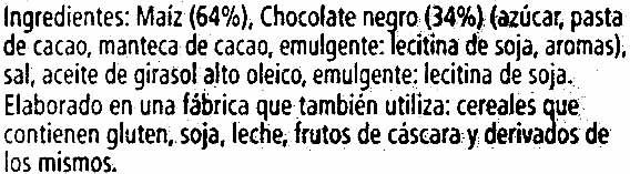 Nackis tortitas de maíz con chocolate negro packs - Ingredients