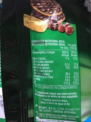 Tortitas de maiz con chocolate con leche - Información nutricional