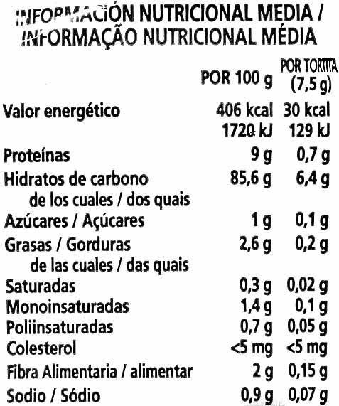 Tortitas de maíz sin gluten - Informació nutricional - es