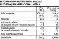 Tortitas de arroz con chocolate negro - Informació nutricional