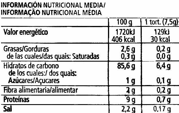 Nackis tortitas de maíz packs - Informació nutricional