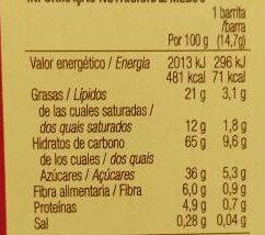 Sarialis saciantes multicereales con chocolate con leche - Información nutricional