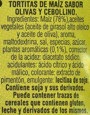Tortitas de maíz sabor olivas y cebollino - Ingrediënten - es