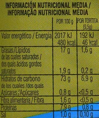 Tortitas de maíz sabor olivas y cebollino - Voedingswaarden - es