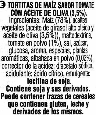 Tortitas de maíz sabor tomate con aceite de oliva - Ingredientes