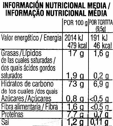 Tortitas de maíz sabor tomate con aceite de oliva - Información nutricional