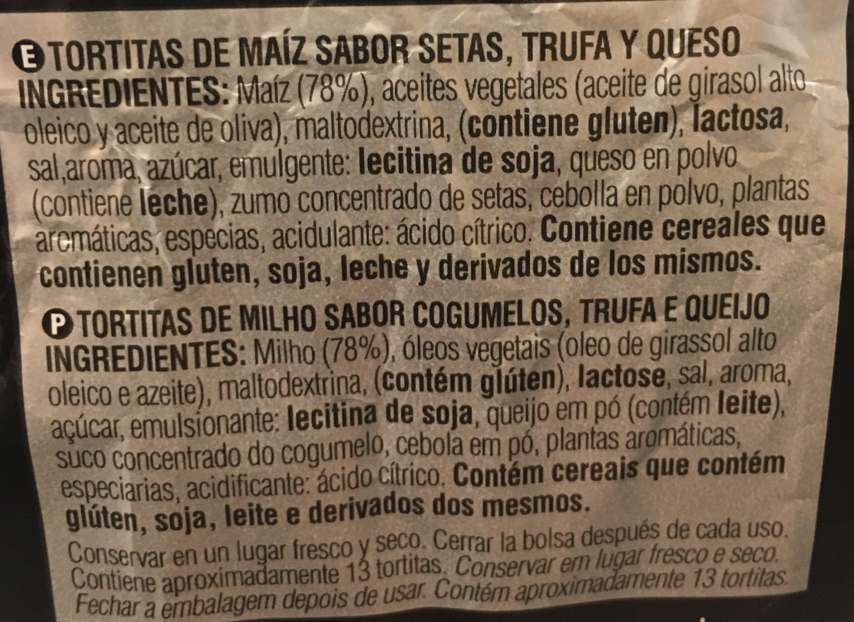 Tortitas de maíz sabor setas, trufa y queso por jordi cruz - Ingrediënten