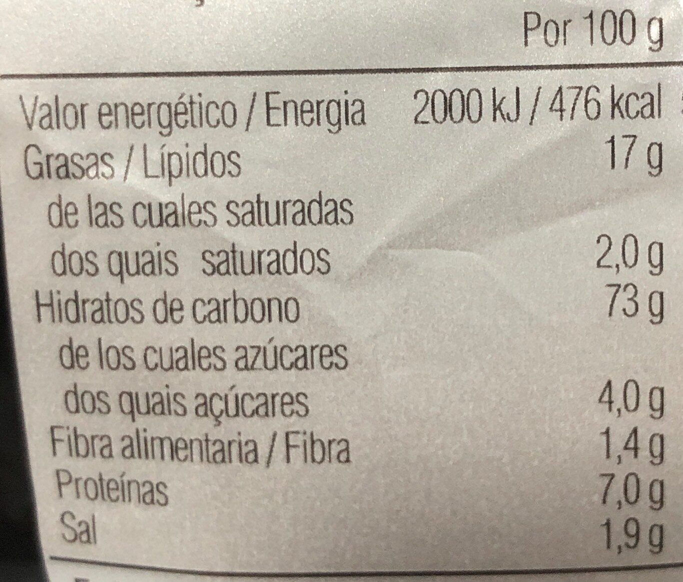 Pop corn jordi cruz mini palomitas - Nutrition facts