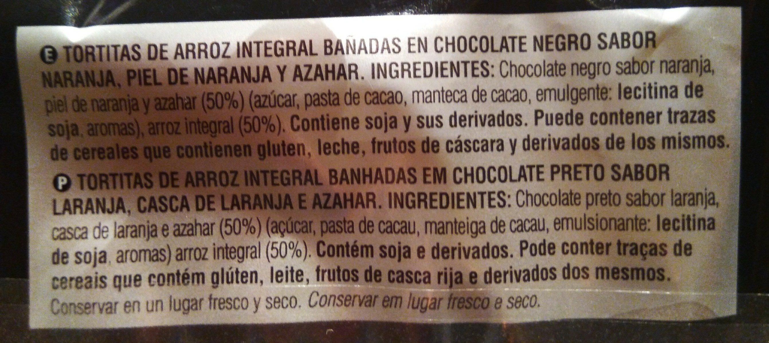 Tortitas de arroz con chocolate negro, naranja y flor de azahar por Jordi Cruz - Ingredientes
