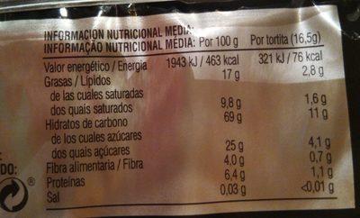 Tortitas de arroz con chocolate negro, naranja y flor de azahar por Jordi Cruz - Información nutricional