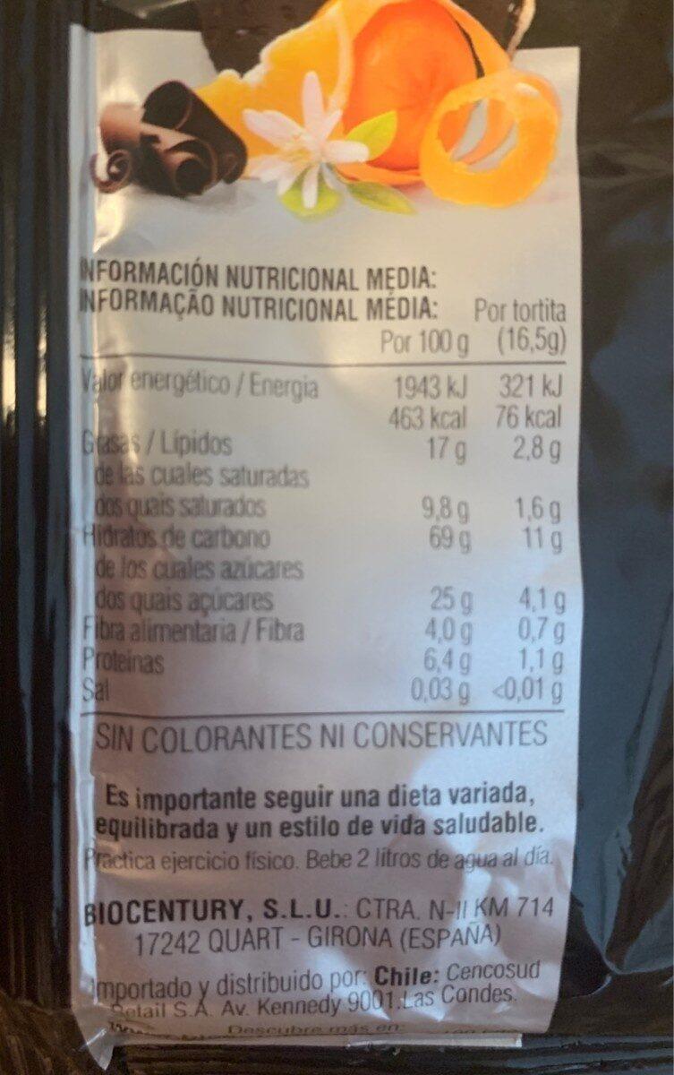 Tortitas de arroz integral bañadas en chocolate negro - Información nutricional - es