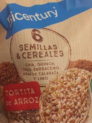 Tortitas de arroz con semillas y cereales chía,