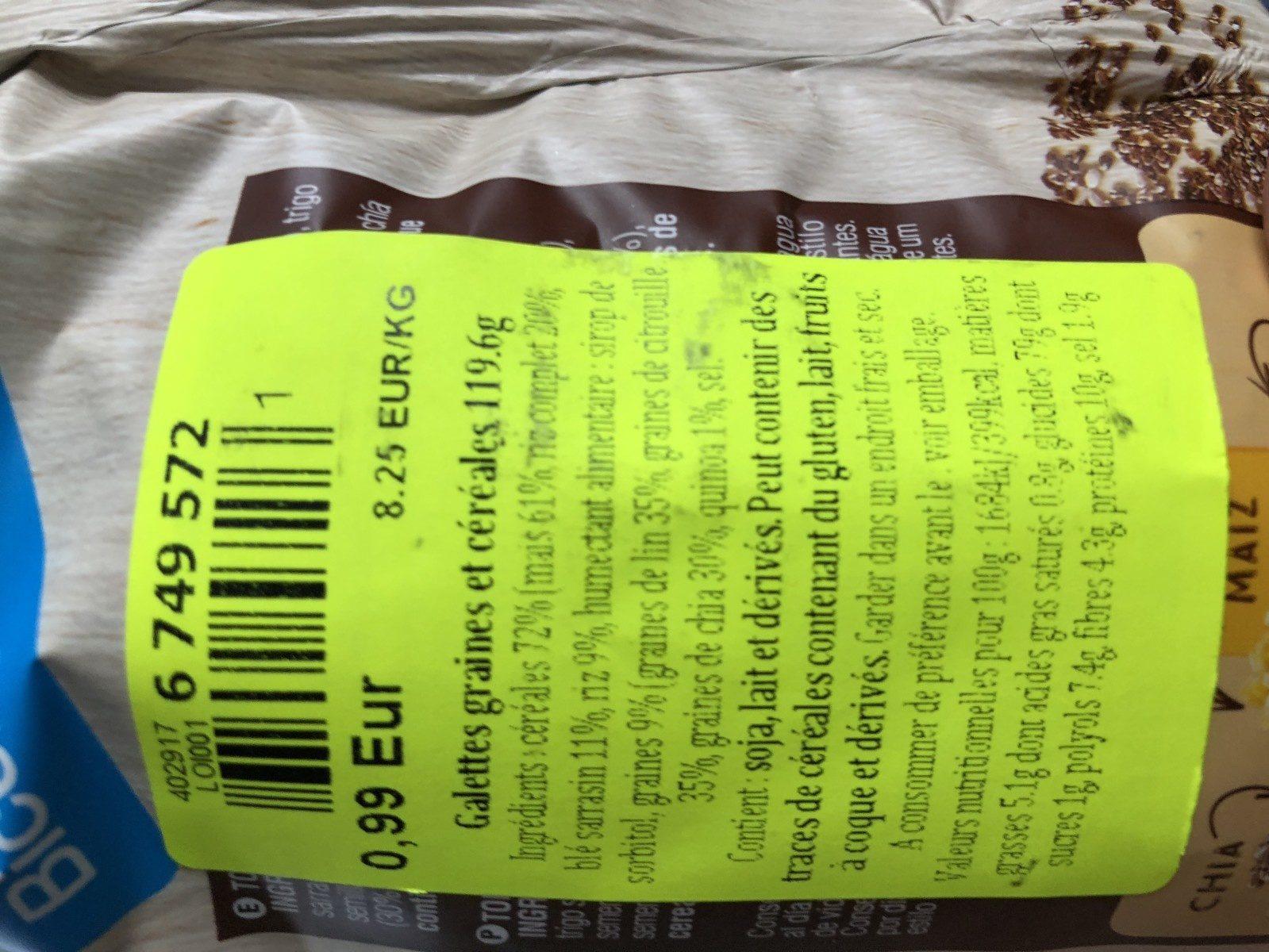 6 semillas y cereales. Tortita de maiz - Ingredientes - fr