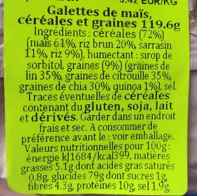 Tortitas de maíz con 6 semillas y cereales - Información nutricional