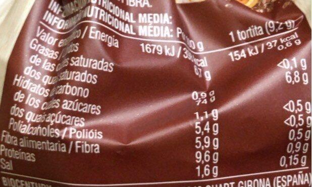 6 semillas y cereales. Tortita de maiz - Información nutricional - fr