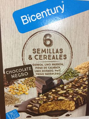 Bicentury barritas 6 semillas & cereales chocolate negro - Producte