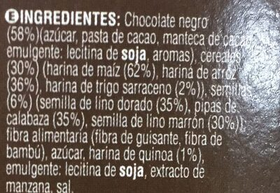 Bicentury barritas 6 semillas & cereales chocolate negro - Ingredients