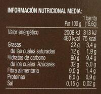 Bicentury barritas 6 semillas & cereales chocolate negro - Información nutricional