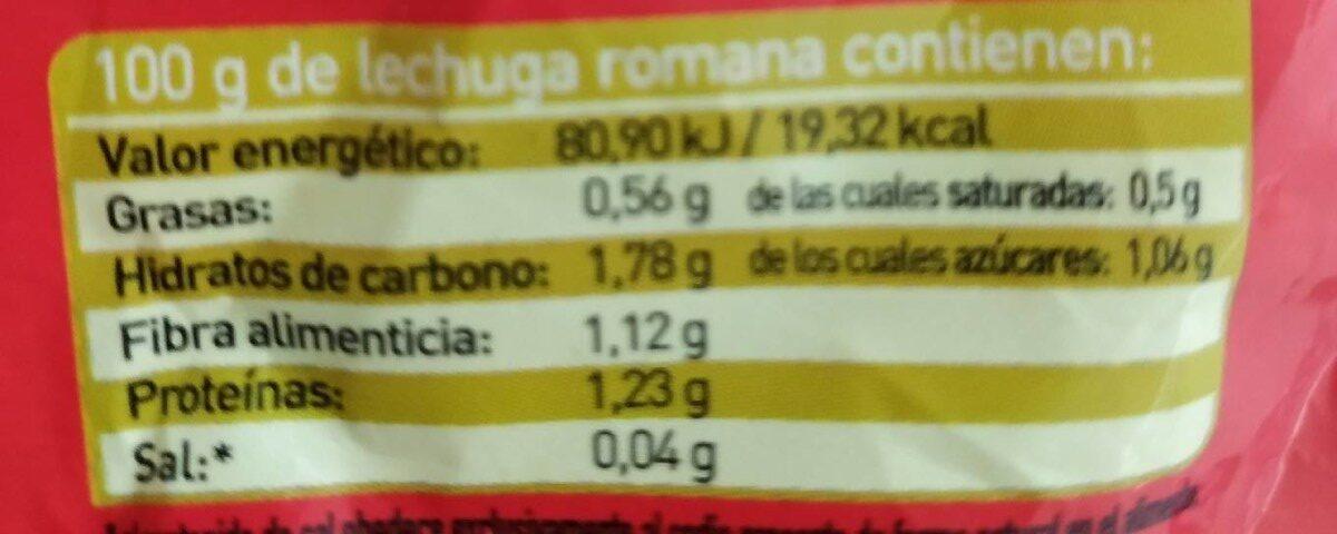 Corazón romana x1 - Información nutricional - es