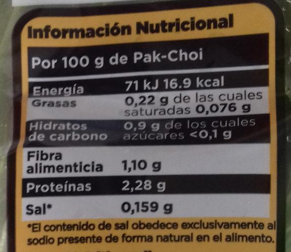 Pak-Choi - Veguisan - Informations nutritionnelles - es