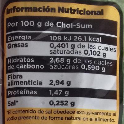 Choi sum - Información nutricional - es