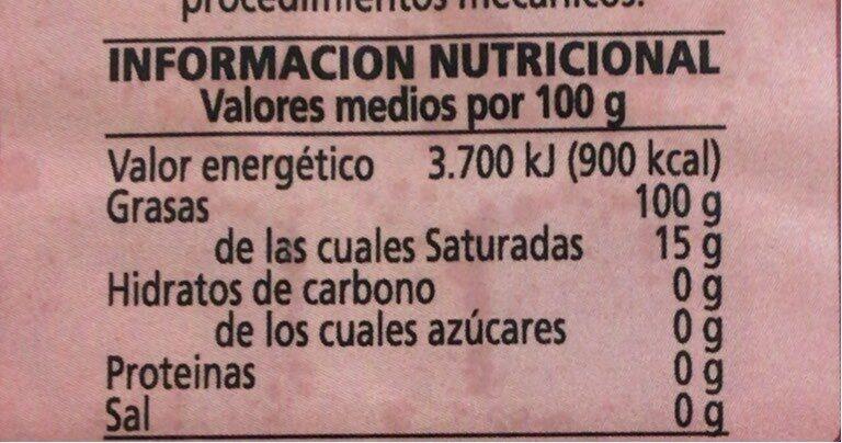 Aceite de oliva virgen extra almazara Tudela - Informations nutritionnelles - es
