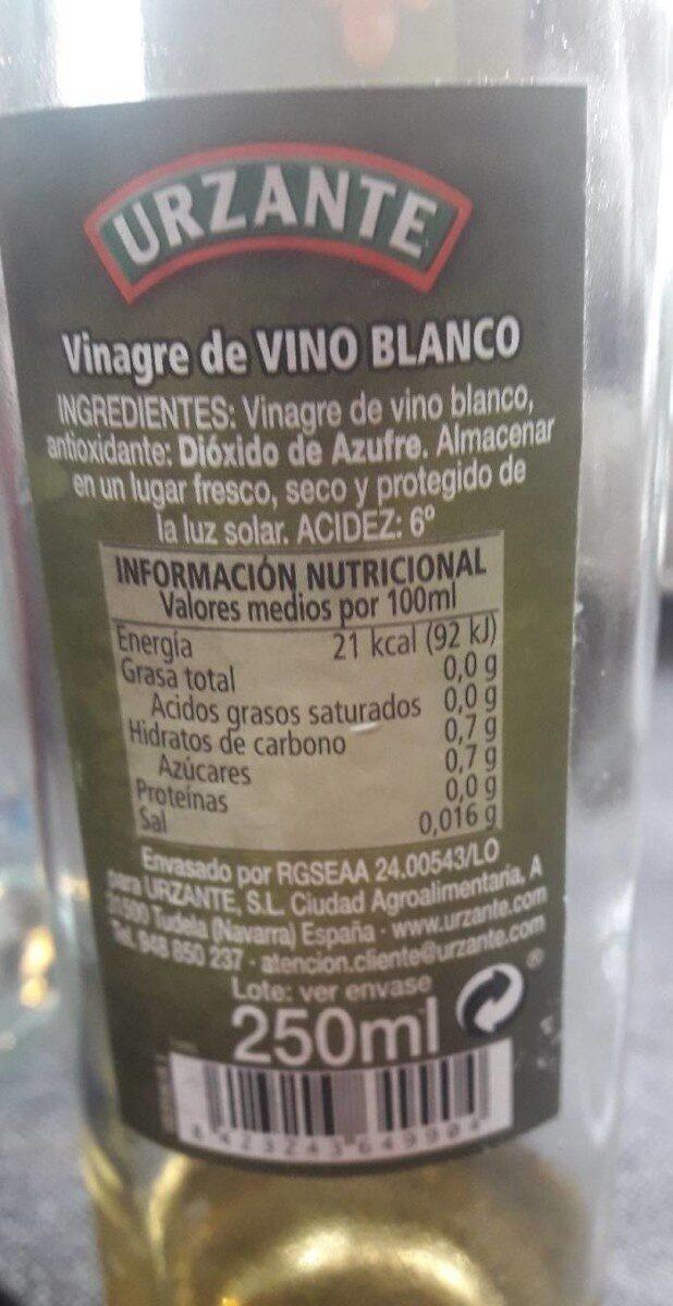 Vinagre de vino blanco - Información nutricional
