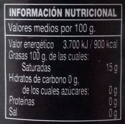 Aceite de Oliva Virgen Extra D.O.P. - Nutrition facts