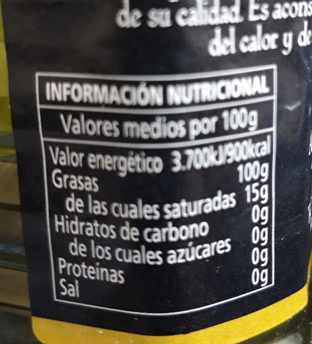 Trujal Olivar de la Ribera - Informació nutricional - es