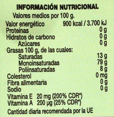 Aceite de oliva virgen extra recien exprimido sin filtrar botella 1 l - Informations nutritionnelles
