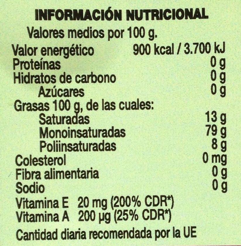 Trujal Almazara de Tudela - Aceite de oliva virgen extra - Informació nutricional