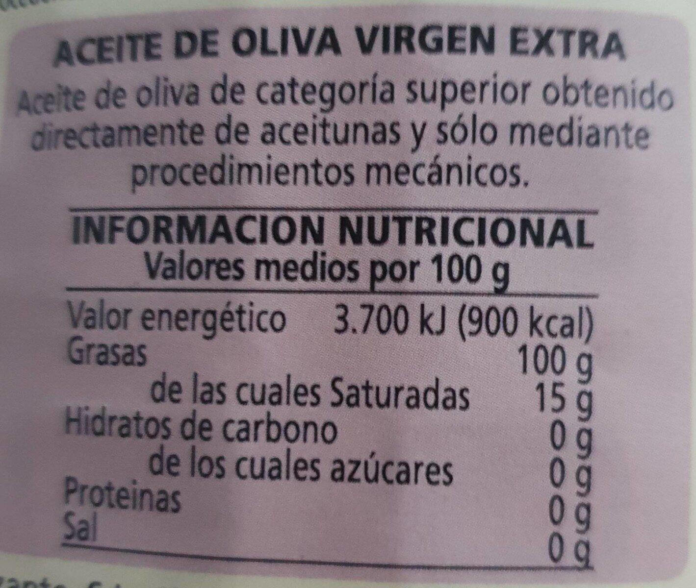 Aceite de Oliva VE Trujal Tudela - Informations nutritionnelles - es