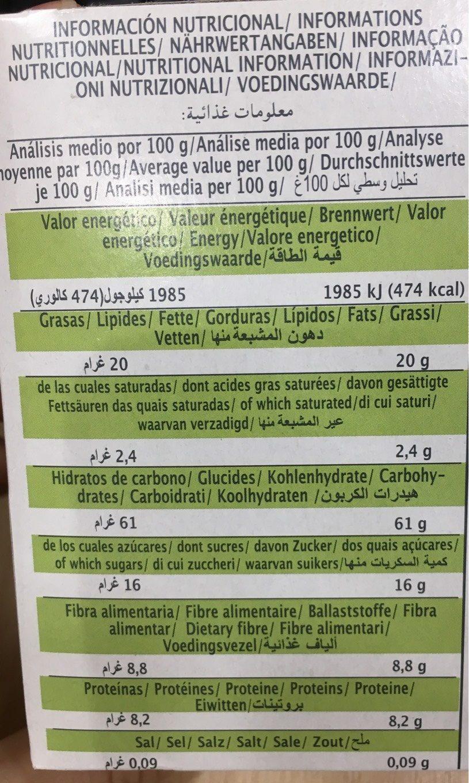 Fibroki Tost - Nutrition facts